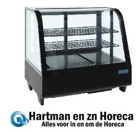 CC611 - Polar gekoelde vitrine 100 liter zwart