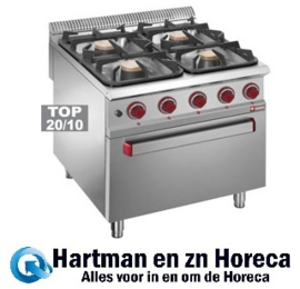 G9/4BF8 - Fornuis gas 4 branders op gasoven GN 2/1 DIAMOND