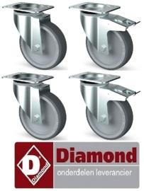 167AIK4-L - Set van 4 R.V.S.-wielen, zwenkend, 2 met rem DIAMOND