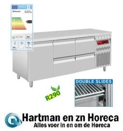 DT178/R2+2XCA1/2-PM - Geventileerde koelwekbank, 3 deuren GN 1/1, 405 Lit. mm (BxDxH) : 1755x700xh850/900 DIAMOND