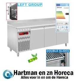 DT178/R2AGX - Geventileerde koelwerkbank met opstaande rand, 3 deuren GN 1/1, 405 Lit. groep aan linkerkant mm (BxDxH) : 1775x700xh880/900 DIAMOND