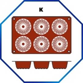 070060 - BAKMAT GUGELHUPF 1/3 GN in blister-verpakking ROND 70 MM / HOOG 36 MM