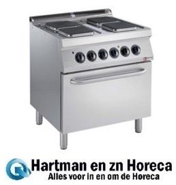 E17/4PQF8-N -  Elektrisch fornuis 4 vierkante platen, elektrische oven GN 2/1 DIAMOND Medium 1700