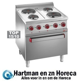 E7/4PF7 - Elektrisch fornuis 4 platen op elektrische oven GN 2/1 en gril DIAMOND Optima 700