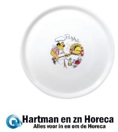 DJ959 -Saturnia pizzabord porselein met chef decoratie 33cm - design 4