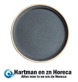 FA301 -Olympia Canvas platte ronde borden blauw graniet 25cm