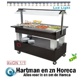 BSB/4N-B1-R2 - Buffet - Salad bar, gekoeld, 4x GN 1/1-150 (Wengé hout) DIAMOND