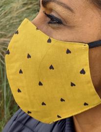 Mondkapje hartjes print oker geel