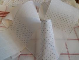 Borduurband Wit met zacht Blauwe stip 10 cm