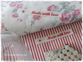"Acufactum Bandje ""Made with Love"" Creme Rood"
