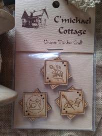 C` Michael Cottage Pins Buttons