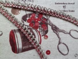 CD Frans Bandje Rood/Beige lusje