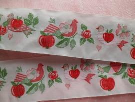 Acufactum Schmuckband Tauben & Apfel Rot/Weiss