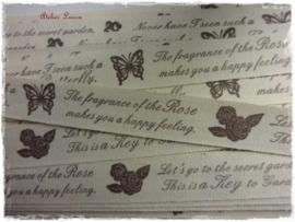 Katoen bandje Roses, Key & Butterfly