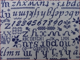 Stof Shabby Cross Stitch Blue