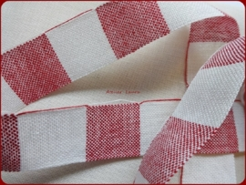 V&H Borduurband Rood/Off-White 3 cm
