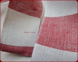 V&H Borduurband Rood/Off-White 5cm