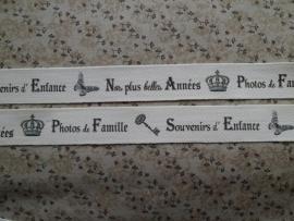 LBB Ruban 2,5 cm Serge nat Souvenirs Famille