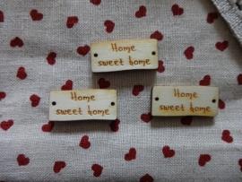 Houten knoop labeltje Home Sweet Home