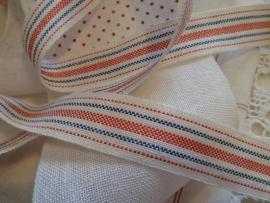 V&H Borduurbandje Linnen Wit/Rood/blauw 2,7 cm