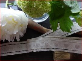 Linnen kant met stitch gaatjes en hartjes