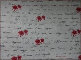 Stof Shabby Writen Red Roses