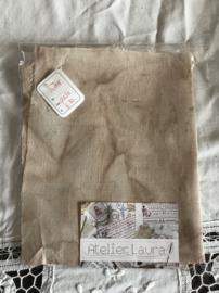 HandDyed linnen 14 drds Old Sage 17 x 30 cm