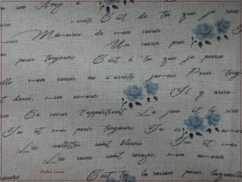 Stof Shabby Writen Blue Roses