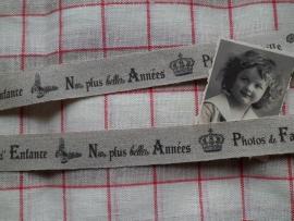 LBB Ruban 2,5cm Lin Souvenirs Famille