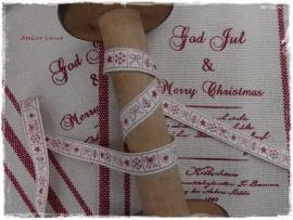 Bandje crème met rode kerst symbooltjes