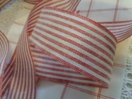 Borduurband Rode/Witte streep 5,5 cm
