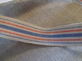 V&H Borduurbandje Natuur/ Blauwe/Rode Streep 2,7 cm