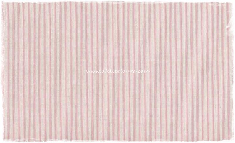 Makower Stofje Wit met roze Streep X