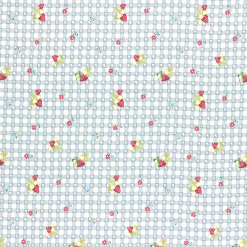 Lecien - Quilting in the rain- Strawberry - Bleu-Offwhite