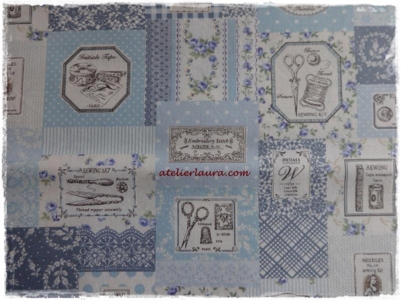 Stofje Vintage Sewing Bleu