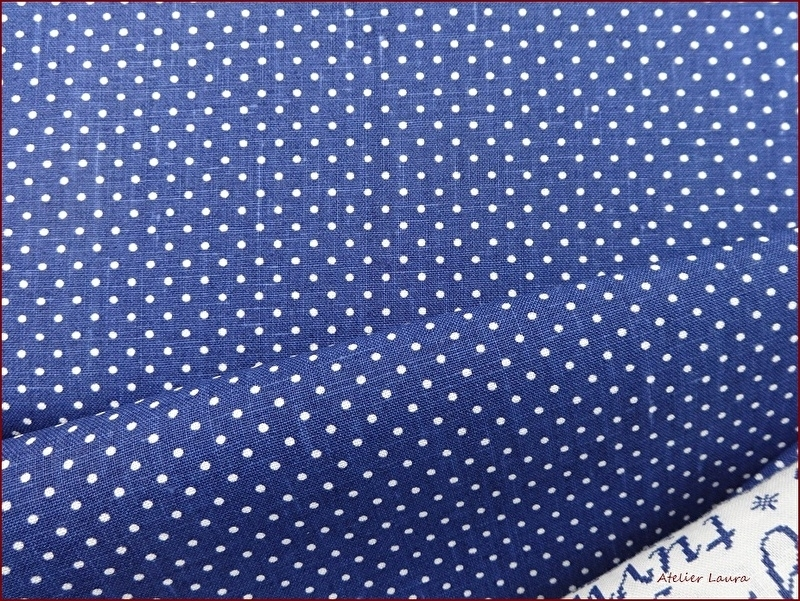 Stof Shabby Jeans Blue Dots
