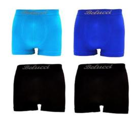 Microfiber Boxershorts Belucci clasic Blue Black M/L 4 Pack €10,95,-