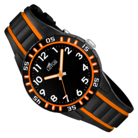 Lotus Kinderhorloge Rubber 5ATM Zwart/Oranje 35mm
