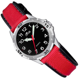 Lotus RVS Kinderhorloge 5ATM Rood/Zwart 33mm