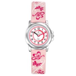 Certus Meisjeshorloge Vlinders Klokkijkhulp 26mm Roze