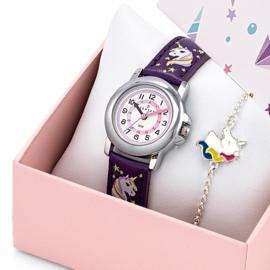 Certus Giftset Unicorns - Horloge met Armband 26mm Paars
