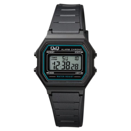 Q&Q Kinderhorloge Digitaal Stopwatch Alarm Zwart Lichblauw 34mm