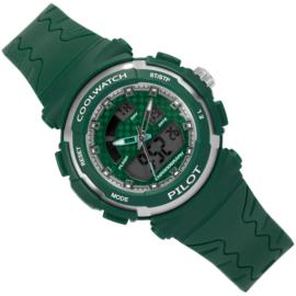 Coolwatch Analoog-Digitaal Kinderhorloge Pilot Green