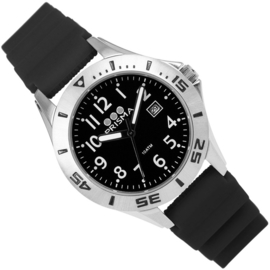 Prisma Pro Diver RVS Duikhorloge 100m Datum Zwart