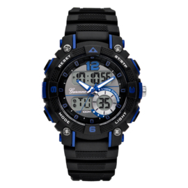Garonne Analoog-Digitaal Alarm Sporthorloge Zwart-Blauw 38mm