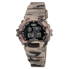 Q&Q Digitaal 5 Alarmen Horloge 10 ATM Camouflage Khaki