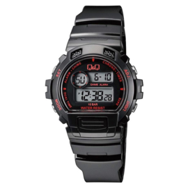 Q&Q Digitaal 5 Alarmen Horloge 10 ATM Zwart Rood
