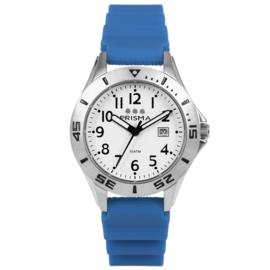 Prisma Pro Diver RVS Duikhorloge 100m Datum Blauw/Wit