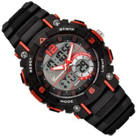Garonne Analoog-Digitaal Alarm Sporthorloge Zwart-Rood 38mm