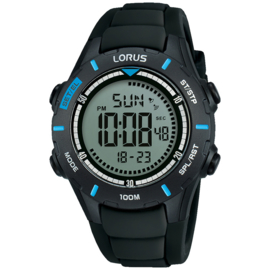 Lorus Digitaal Horloge Alarm Chrono 100m Zwart